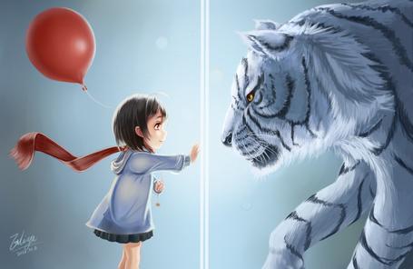 Фото Девочка с воздушным шариком и белый тигр, by wei ji
