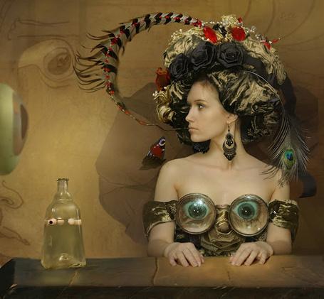 Фото Девушка в вычурном наряде сидит за столом и смотрит в глаз на стене, Work by Владимир Федотко