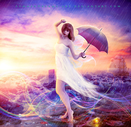 Фото Девушка с зонтом танцует на фоне моря с парусником, by SummerDreams-Art