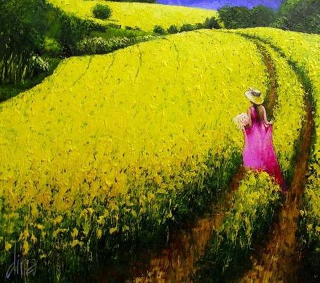Фото Девушка в розовом платье, в шляпке стоит перед цветочным полем, художник Дима Дмитриев
