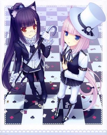 Фото Chocola и Vanilla в брючных костюмах стоят на шахматном полу, манга Neko Para, art by Sayori