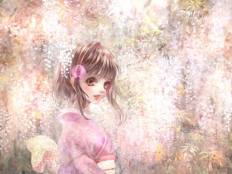 Фото Девушка среди цветов глицинии, by shikaji kashikai
