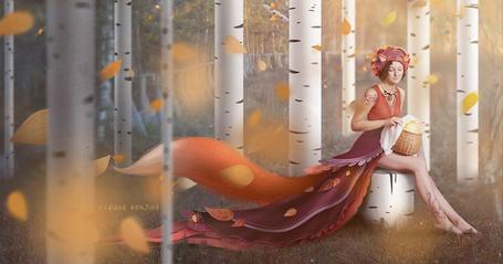 Фото Девушка-лисичка сидит на пеньке с корзинкой в руках в которой лежит солнце, by Diana Renjina