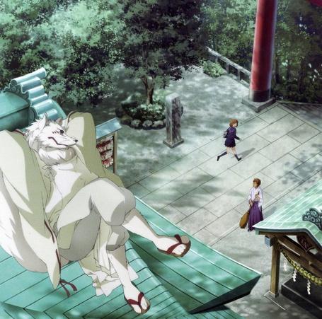 Фото Makoto Saeki / Макото Саэки и Лис дух-хранитель храма Гинтаро из аниме Серебряный лис / Gingitsune