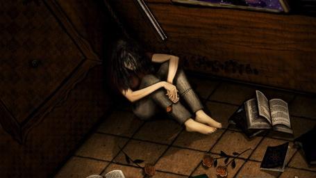 Фото Девушка грустная с розой в руке сидит в углу комнаты, на полу разбросаны книги и розы