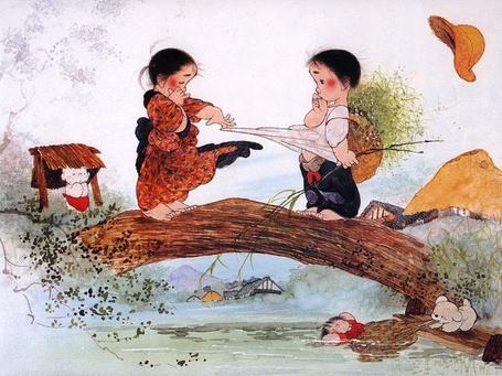 Фото Мальчик с девочкой стоят на мостике, японский иллюстратор Nakashima Kiyoshi