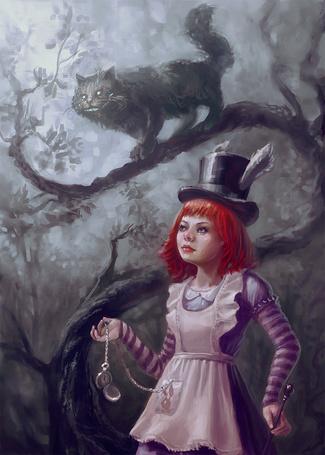 Фото Alice / Алиса с часами шляпника в руке и Cheshire Cat / Чеширский Кот из сказки Alice in Wonderland / Алиса в стране чудес, by Lelyk777