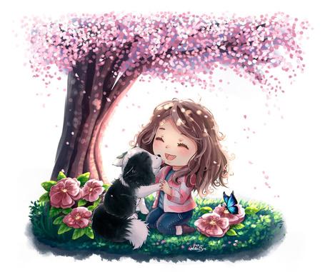 Фото Девочка с собачкой сидят под весенним деревом, by NaiLyn