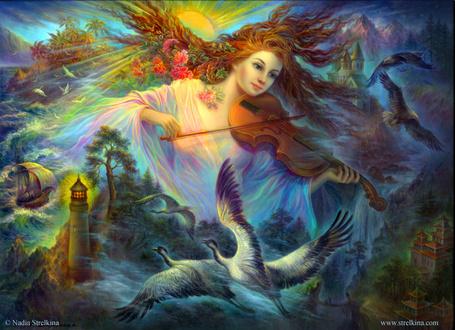 Фото Девушка с цветами в волосах играет на скрипке, by Fantasy-fairy-angel