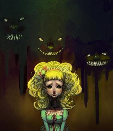 Фото Златовласая девочка с зелеными глазами и чудища-медведи за ее спиной / иллюстрация к сказке Goldilocks and the three bears / Златовласка и три медведя, by Keri Rutabaga