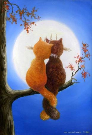 Фото Влюбленные коты любуются на полную луну, художник Сергей Данилов