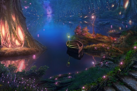 Фото Лодка в воде на фоне светящихся деревьев и водопада вдали, art by RealNam