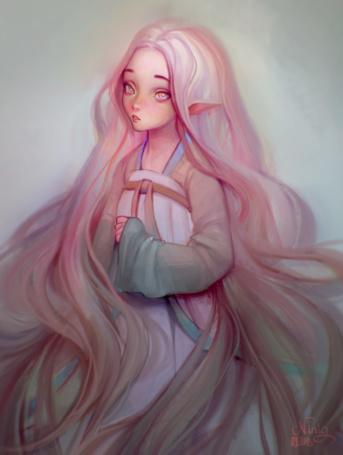 Фото Девушка - эльф с длинными распущенными волосами