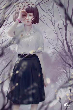 Фото Девушка с рукой у лица, by webang111