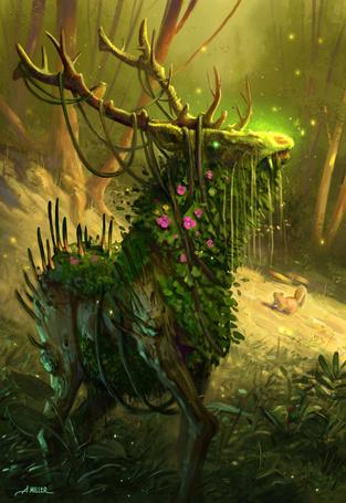Фото Белка смотрит на волшебного оленя в заколдованном лесу, by AaronMiller