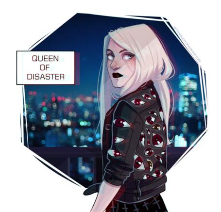 Фото Светловолосая девушка в глазастой куртке (Queen of disaster), art by HetteMaudit