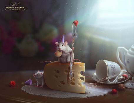 Фото Маленькие крысята завтракают сыром на столе с опрокинутой чашкой кофе, ягодами малины и шоколадными конфетами, by Maksim-Larionov