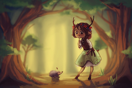 Фото Девушка с рожками смотрит на ежика, by Wernope