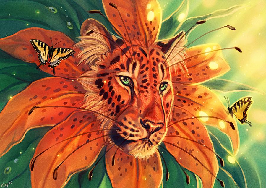 Картинка тигр в бабочке