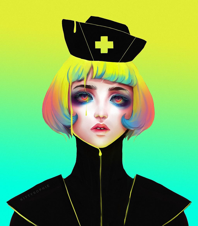 Фото Девушка с цветными волосами, в черной одежде, в черной шапочке с крестом медработника, by kittysophie