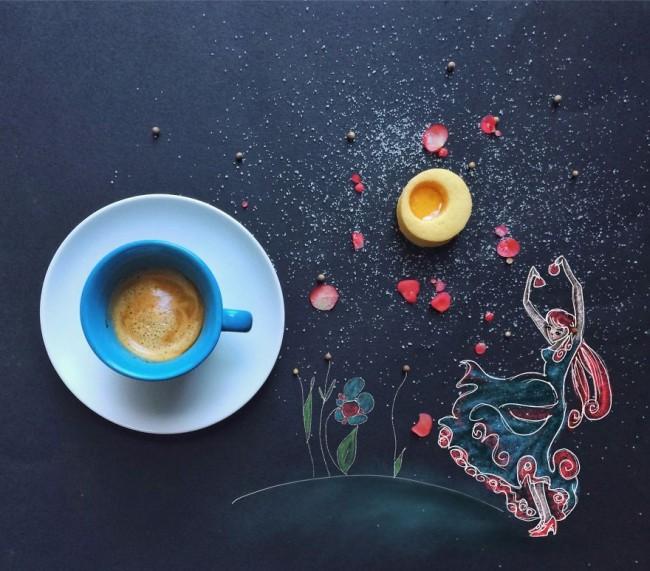 Фото Кружка с кофе на столе с рисунком танцующей девушки, by Cinzia Bolognesi