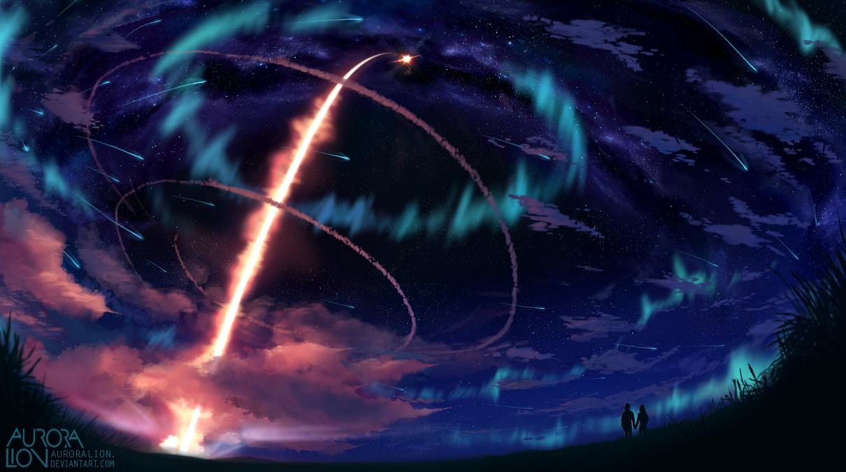 Парень и девушка на фоне ночного звездного неба, by AuroraLion