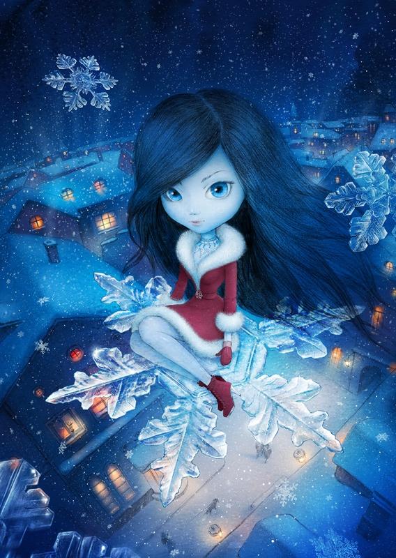 Смайлики, картинки девочки снежинки