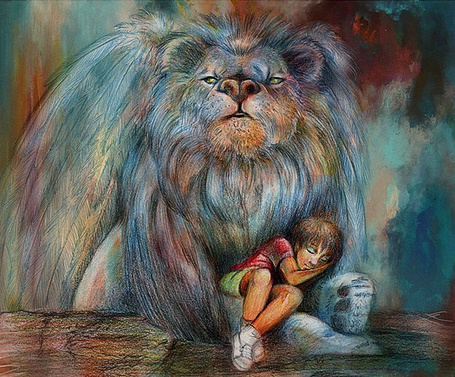 Фото Мальчик спит у ног льва, художник-иллюстратор Яна Кучеева