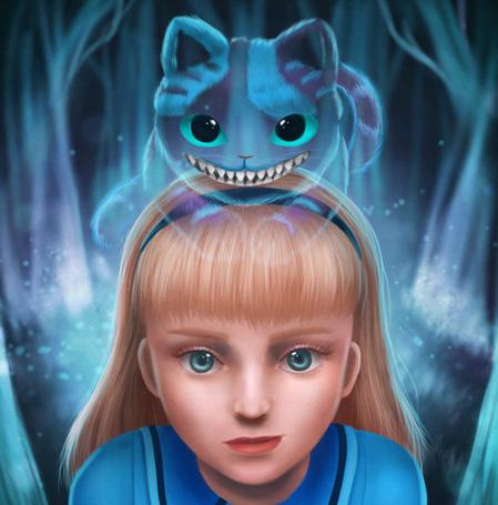 Фото Alice / Алиса и Cheshire Cat / Чеширский Кот из сказки Alice in Wonderland / Алиса в стране чудес, by LuzTapia