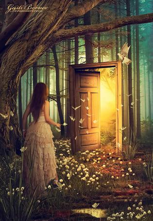 Фото Девушка в окружении бабочек стоит у двери, на которой сидит голубь, by apanyadong