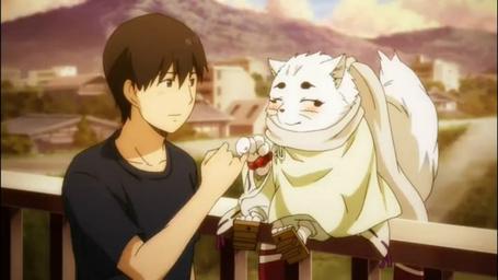 Фото Satoru Kamio и Haru Лис дух-хранитель дают клятву на мизинцах, из аниме Серебряный лис / Gingitsune