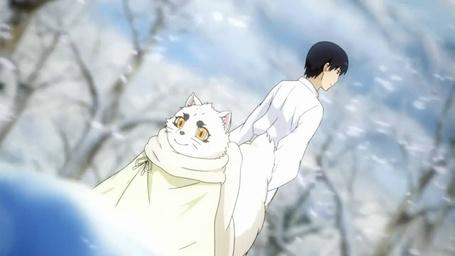 Фото Satoru Kamio и Haru Лис дух-хранитель стоят в зимнем лесу, из аниме Серебряный лис / Gingitsune