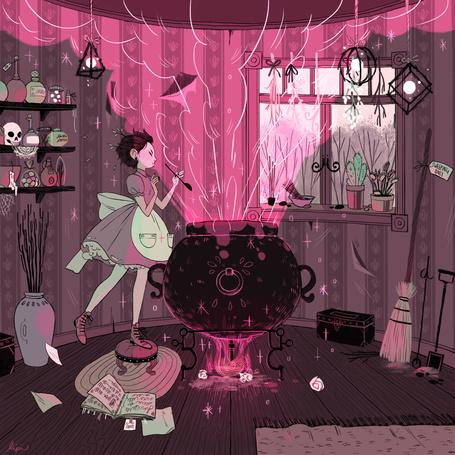 Фото Девушка - ведьма варит неудачное зелье в котле