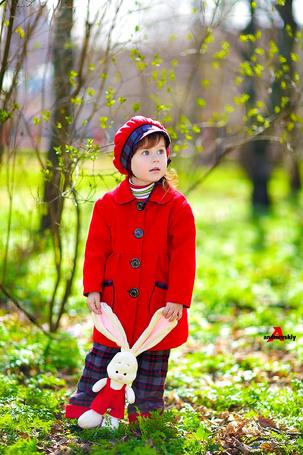 Фото Девочка с игрушечным зайчиком руках, стоит в траве на фоне осеннего пейзажа, by Andrievskiy