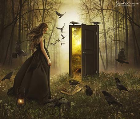 Фото Девушка в окружении воронов стоит в волшебном лесу перед отрытой дверью, за которой светит солнце, by apanyadong
