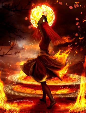 девушка в огне фотографии