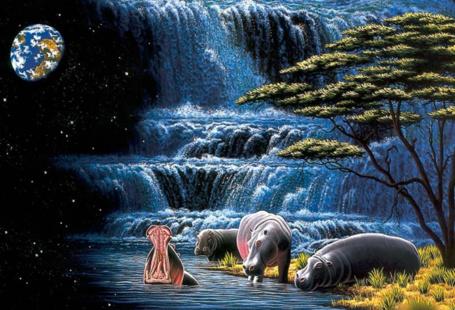 Фото Гиппопотамы, купающиеся около водопада на фоне космоса, william schimmel, deviant art