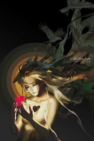 Фото Девушка, из волос которой вылетают вороны, держит в руках свое разбитое сердце, by shilin
