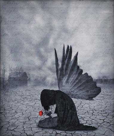 Фото Грустный ангел с цветком