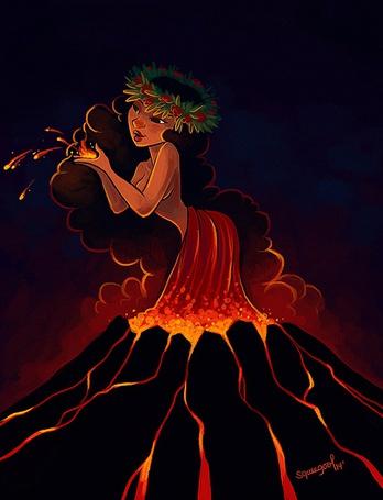 Фото Девушка в веночке из цветов стоит в жерле вулкана, в платье из расплавленной магмы и держит в руках часть раскаленной магмы, by Squeegool