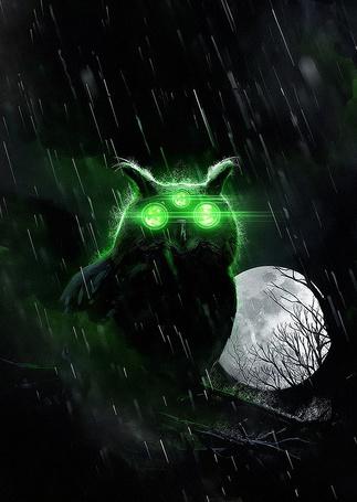 Фото Фантастическая трехглазая сова с зеленым свечением, сидит на ветке дерева ночью, на фоне полной Луны, под дождем, by neverdying-d7hmale