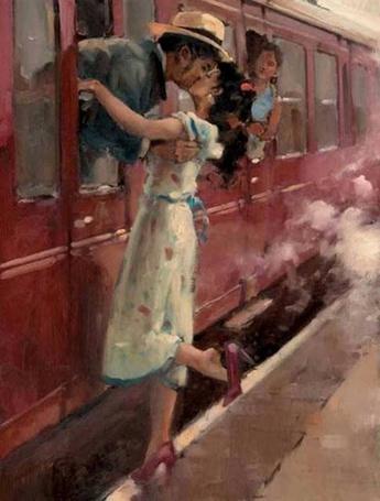 Фото Девушка провожает уезжающего любимого, художник Раймонд Лич
