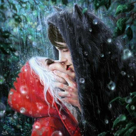 Фото Девушка в красном плаще и парень в волчьей шкуре целуются, by Fuytski