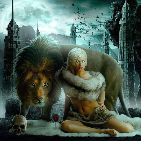Фото Девушка и лев на фоне города, by Sasha Fantom