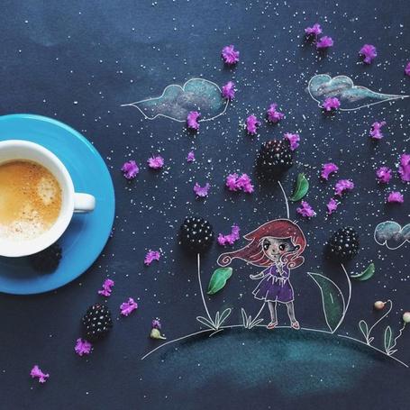 Фото Кружка кофе на столе с рисунком девочки на цветочной поляне, by Cinzia Bolognesi