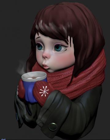 Фото Девушка с горячей чашкой чая, ву He77ga
