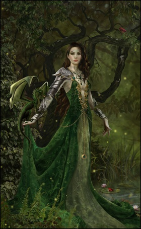Фото Девушка в зеленом платье с драконом на руке, art by Nene Thomas