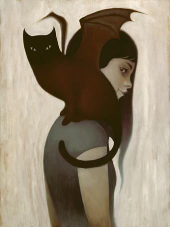 Фото Девочка с кошкой, у которой крылья летучей мыши, ву Syd Bee