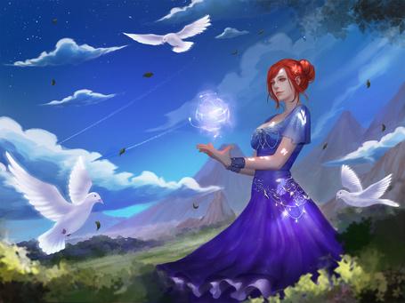 Фото Девушка с магическим шаром над ладонями стоит в поле, в окружении трех белых голубей, by Magic Npue13