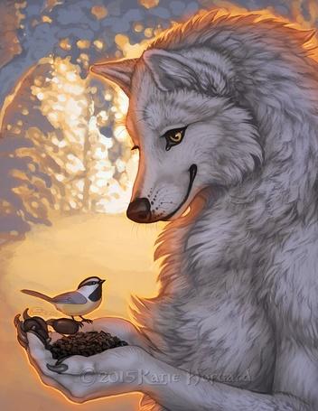 Фото Волк держит в лапах птичку, by KatieHofgard